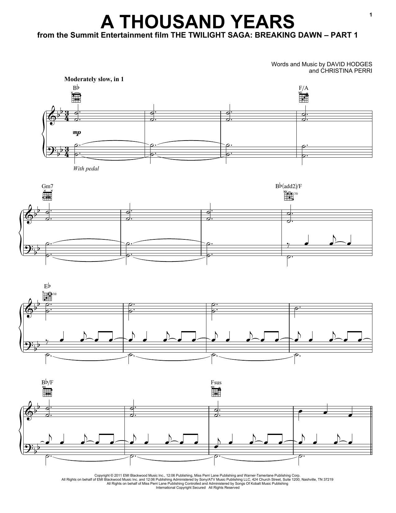 A Thousand Years sheet music by Christina Perri (Piano, Vocal u0026 Guitar (Right-Hand Melody) u2013 88061)