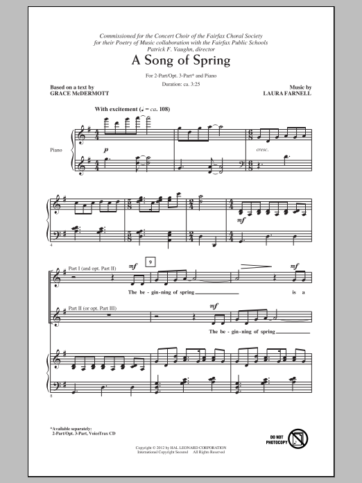 A Song Of Spring sheet music for choir and piano (duets) by Laura Farnell