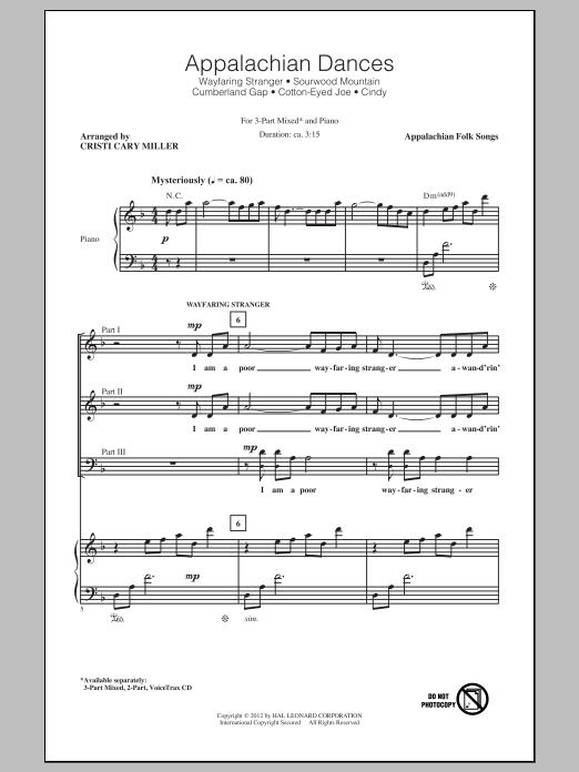 Partition chorale Appalachian Dances (Medley) de Cristi Cary Miller - 3 voix mixtes