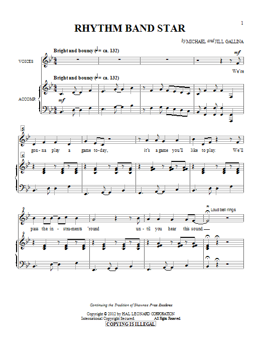 Rhythm Band Star sheet music for choir and piano by Jill Gallina