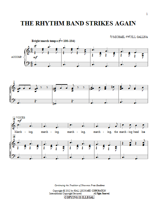 The Rhythm Band Strikes Again sheet music for choir and piano by Jill Gallina