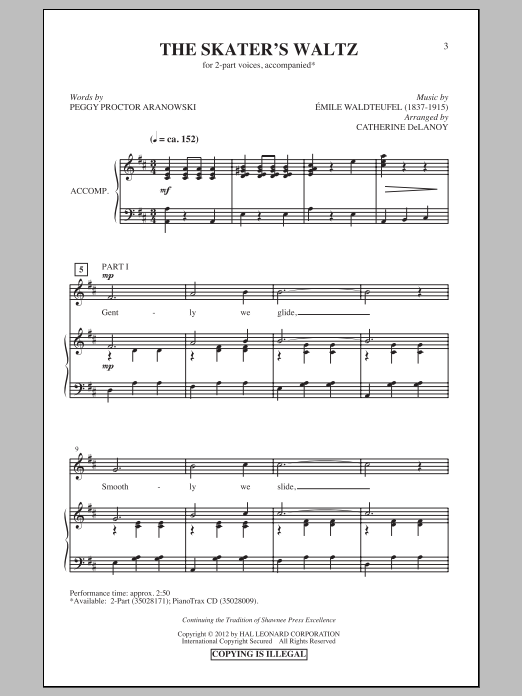 The Skater's Waltz sheet music for choir and piano (duets) by Emile Waldteufel
