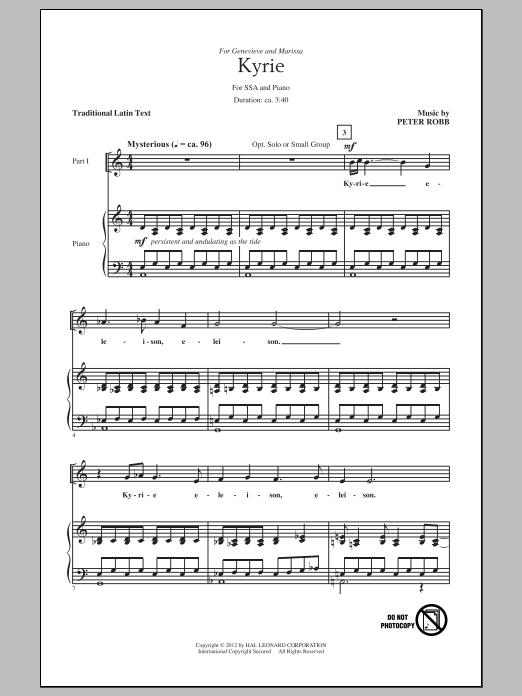 Partition chorale Kyrie And Sanctus de Peter Robb - SSA