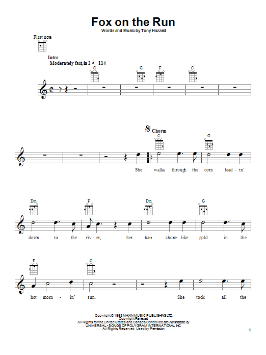 Tablature guitare Fox On The Run de Tony Hazzard - Ukulele