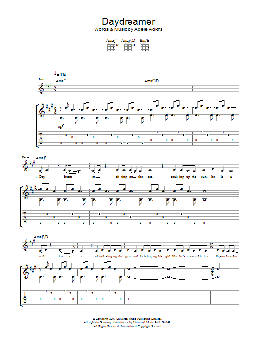Daydreamer sheet music for guitar solo (tablature) by Adele Adkins
