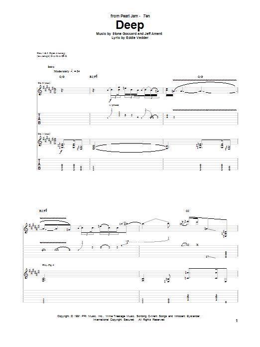 Tablature guitare Deep de Pearl Jam - Tablature Guitare