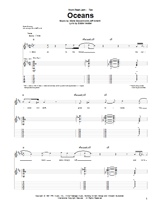 Oceans sheet music for guitar solo (tablature) by Stone Gossard