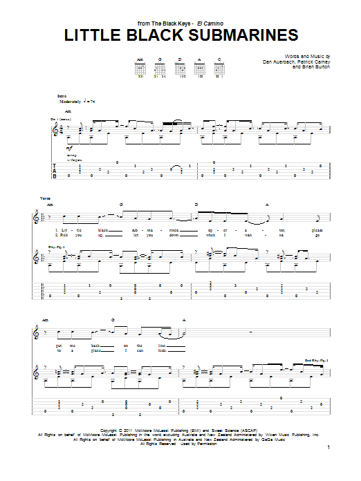 Tablature guitare Little Black Submarines de The Black Keys - Tablature Guitare