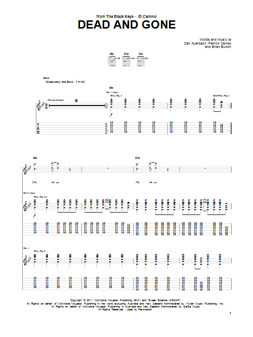 Tablature guitare Dead And Gone de The Black Keys - Tablature Guitare