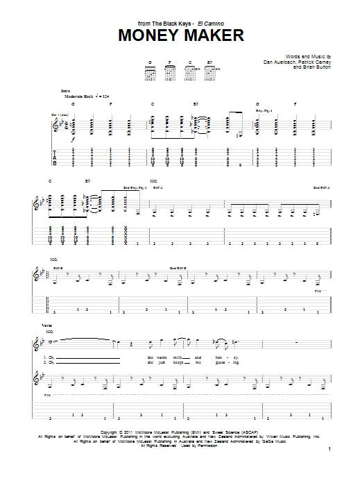 Tablature guitare Money Maker de The Black Keys - Tablature Guitare