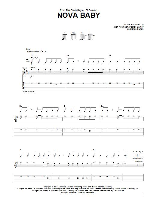Tablature guitare Nova Baby de The Black Keys - Tablature Guitare