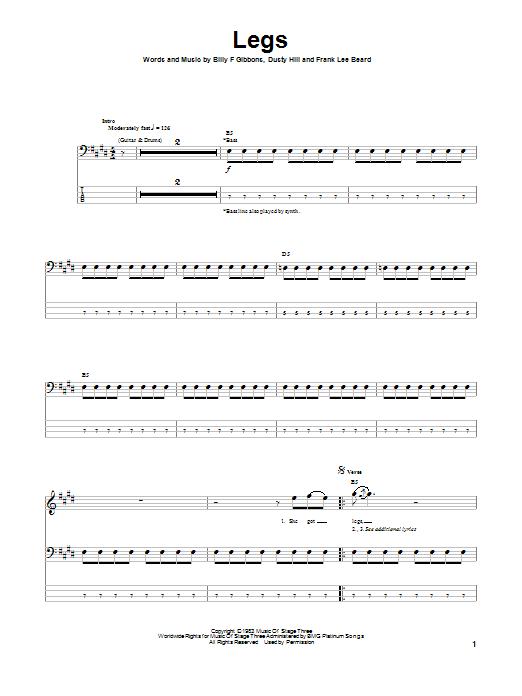Tablature guitare Legs de ZZ Top - Tablature Basse