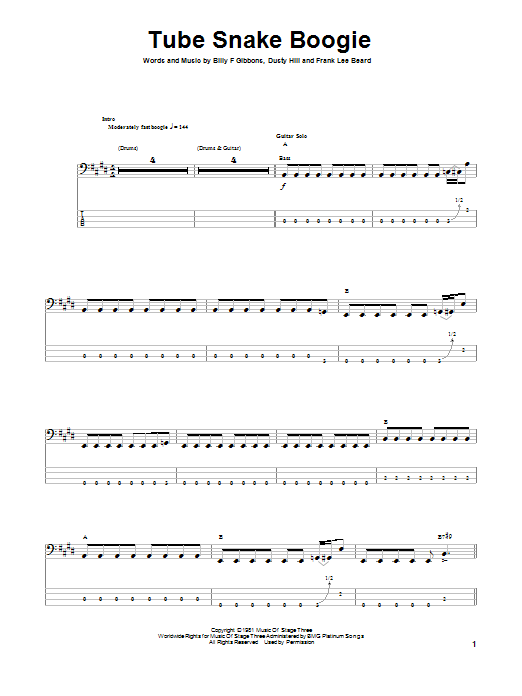 Tablature guitare Tube Snake Boogie de ZZ Top - Tablature Basse