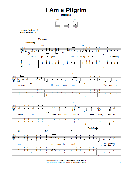 Tablature guitare I Am A Pilgrim de Traditional - Tablature guitare facile