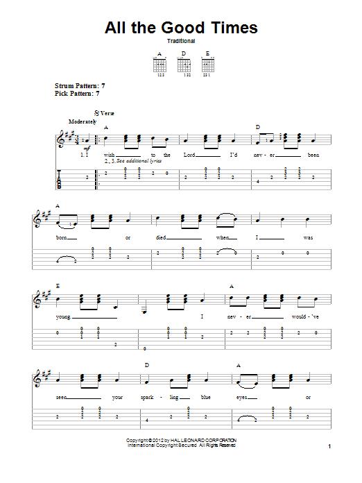 Tablature guitare All The Good Times de Traditional - Tablature guitare facile