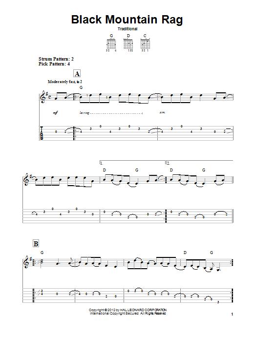 Tablature guitare Black Mountain Rag de Traditional - Tablature guitare facile