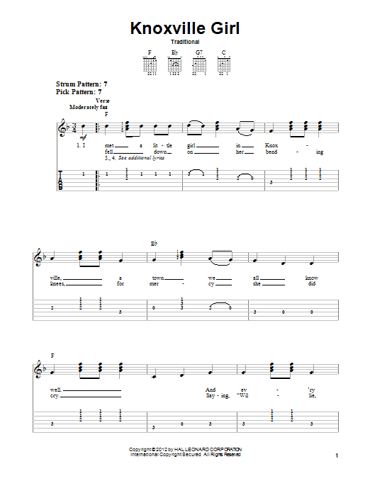 Tablature guitare Knoxville Girl de Traditional - Tablature guitare facile