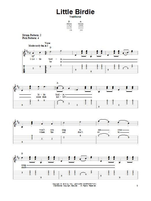 Tablature guitare Little Birdie de Traditional - Tablature guitare facile