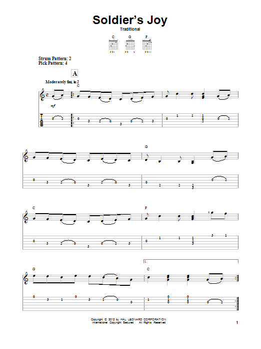 Tablature guitare Soldier's Joy de Traditional - Tablature guitare facile