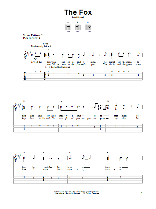 Tablature guitare The Fox de Traditional - Tablature guitare facile