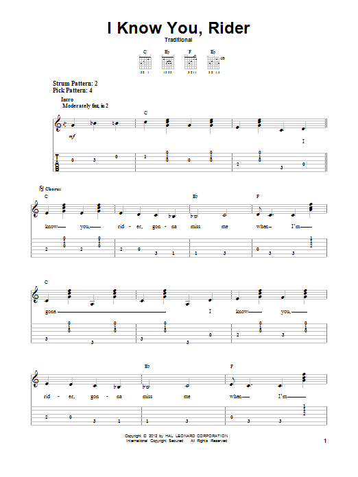 Tablature guitare I Know You, Rider de Traditional - Tablature guitare facile