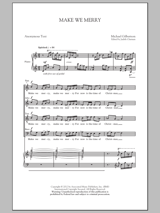 Make We Merry sheet music for choir and piano (SATB) by Judith Clurman