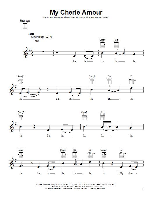 Tablature guitare My Cherie Amour de Stevie Wonder - Ukulele