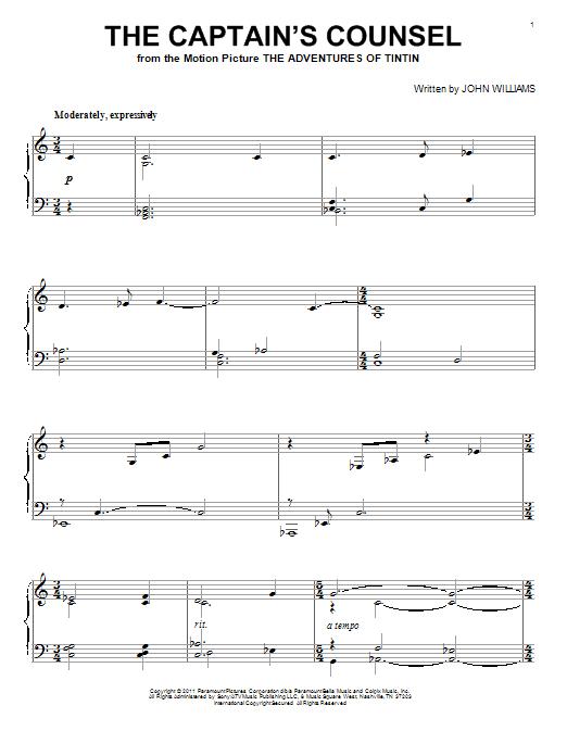 Partition piano The Captain's Counsel de John Williams - Piano Solo
