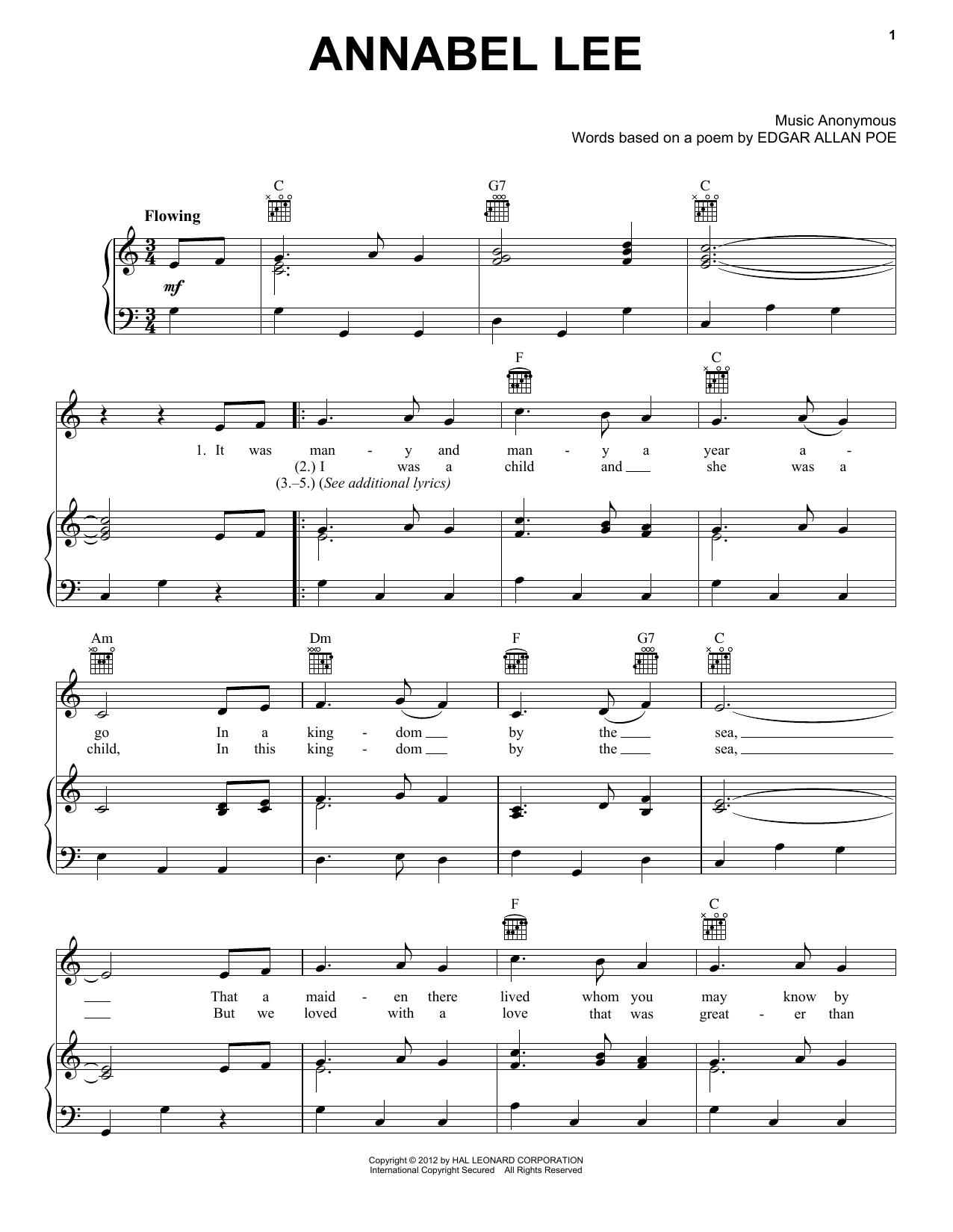 Partition piano Annabel Lee de Folk Song - Piano Voix Guitare (Mélodie Main Droite)