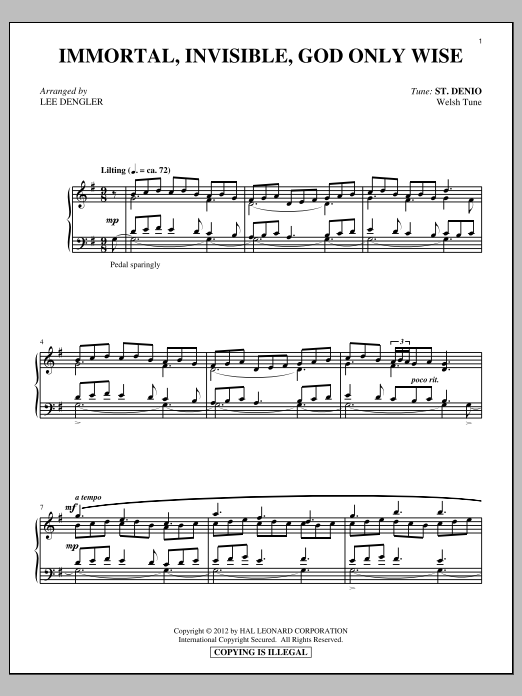 Partition piano Immortal, Invisible de Walter Chalmers Smith - Piano Solo