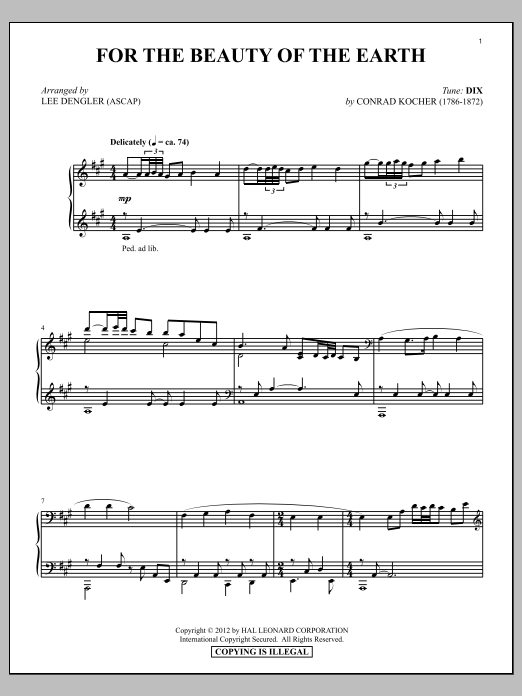 Partition piano For The Beauty Of The Earth de Folliot S. Pierpoint - Piano Solo