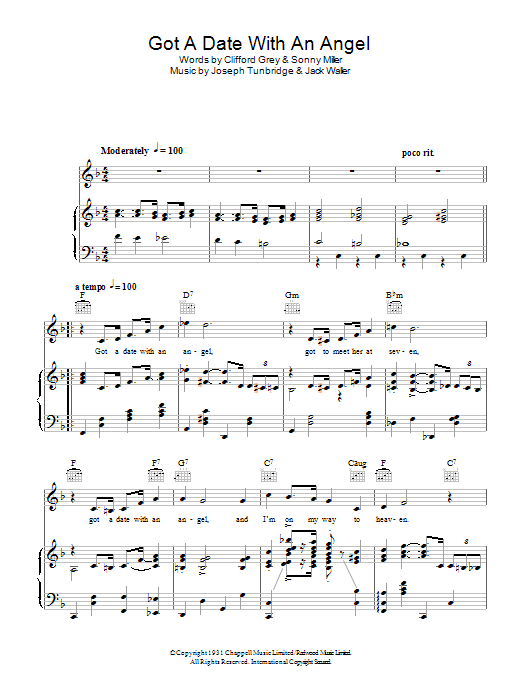 Got A Date With An Angel sheet music for voice, piano or guitar by Sonny Miller