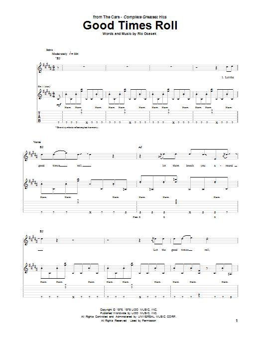 Tablature guitare Good Times Roll de The Cars - Tablature Guitare