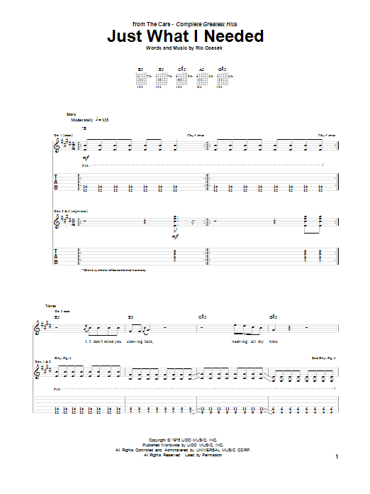 Tablature guitare Just What I Needed de The Cars - Tablature Guitare