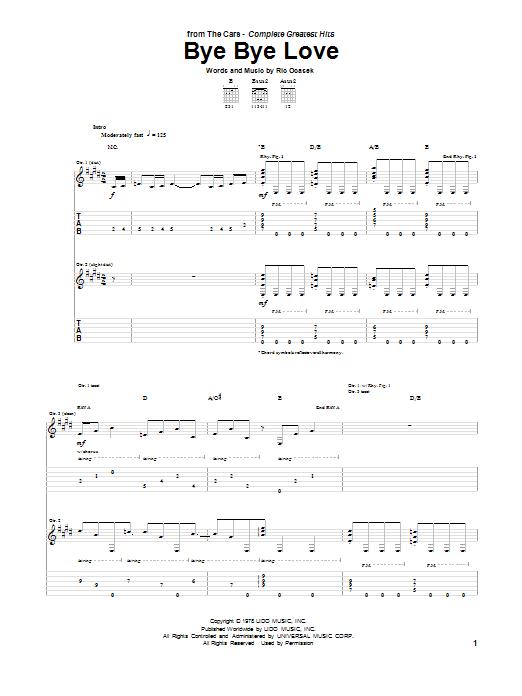 Tablature guitare Bye Bye Love de The Cars - Tablature Guitare
