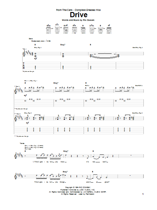 Tablature guitare Drive de The Cars - Tablature Guitare