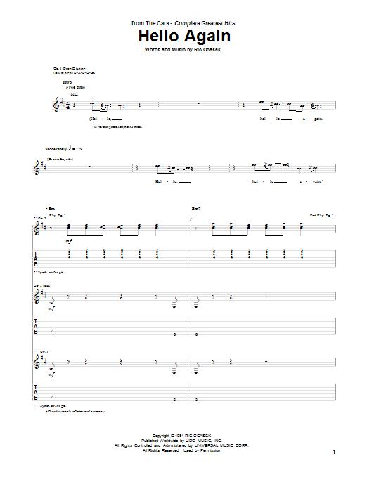 Tablature guitare Hello Again de The Cars - Tablature Guitare
