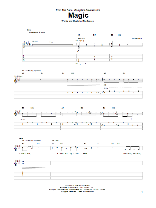 Tablature guitare Magic de The Cars - Tablature Guitare
