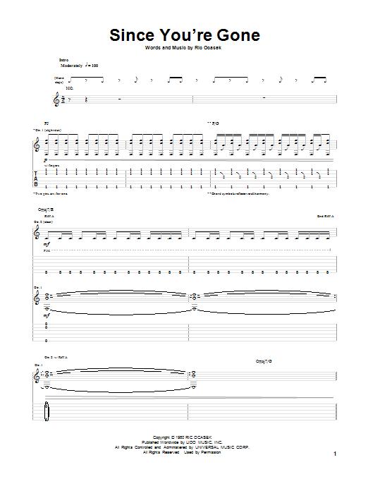 Tablature guitare Since You're Gone de The Cars - Tablature Guitare