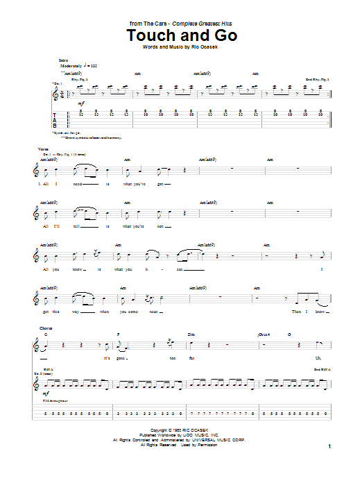 Tablature guitare Touch And Go de The Cars - Tablature Guitare