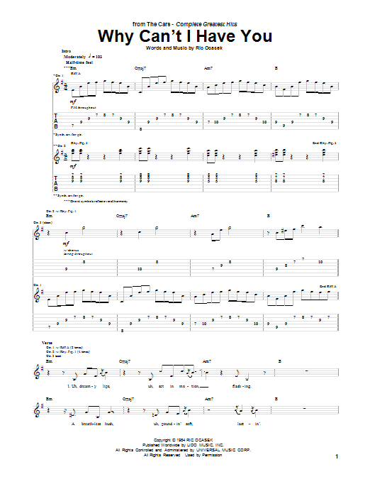 Tablature guitare Why Can't I Have You de The Cars - Tablature Guitare
