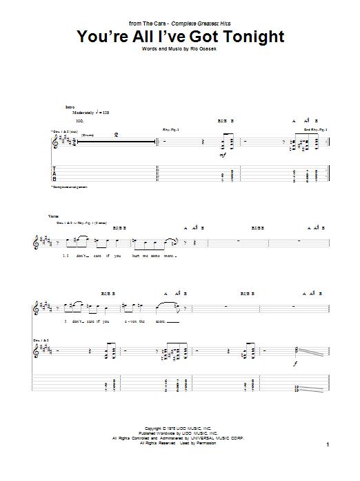 Tablature guitare You're All I've Got Tonight de The Cars - Tablature Guitare
