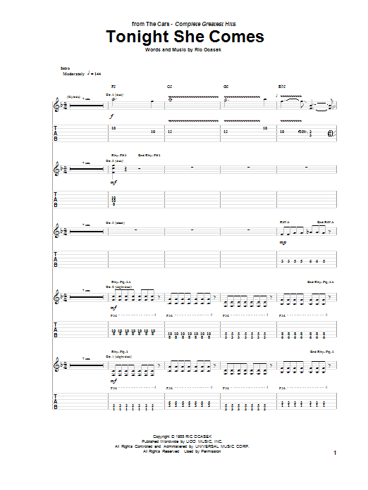 Tablature guitare Tonight She Comes de The Cars - Tablature Guitare