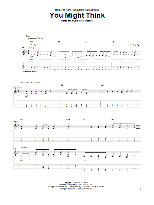 Tablature guitare You Might Think de The Cars - Tablature Guitare