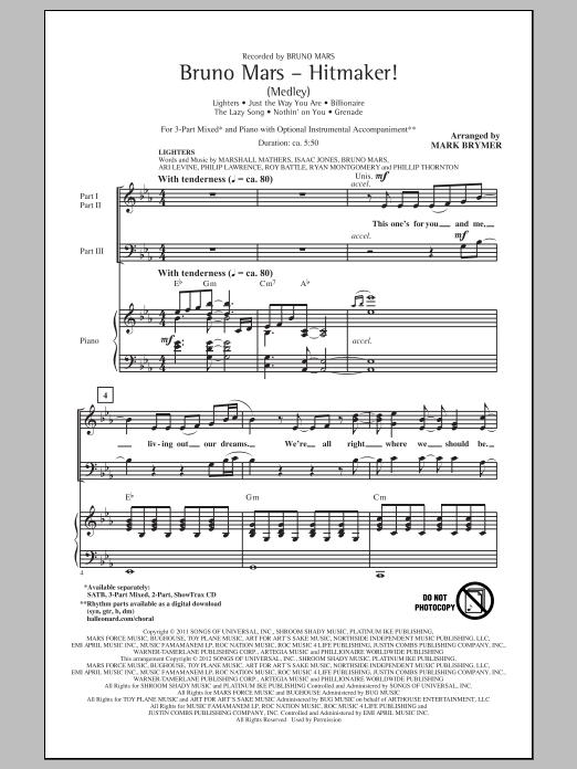 Partition chorale Hitmaker! (Medley) de Bruno Mars - 3 voix mixtes