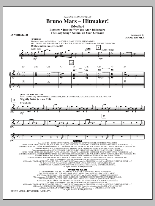 Bruno Mars: Hitmaker! (Medley) (COMPLETE) sheet music for orchestra/band (Rhythm) by Mark Brymer