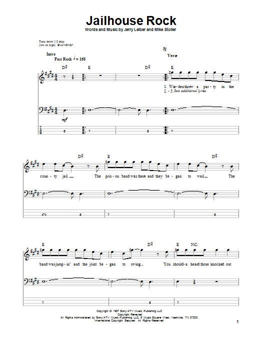 Tablature guitare Jailhouse Rock de Elvis Presley - Tablature Basse