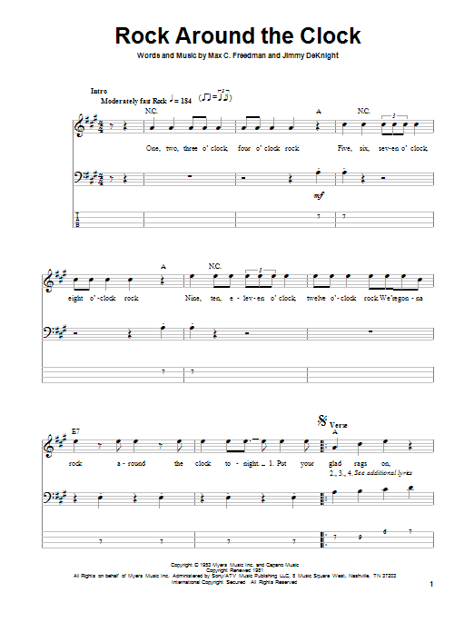 Tablature guitare Rock Around The Clock de Bill Haley & His Comets - Tablature Basse