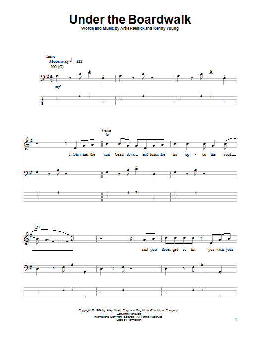 Tablature guitare Under The Boardwalk de The Drifters - Tablature Basse