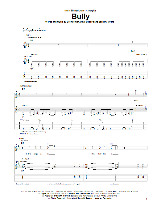 Tablature guitare Bully de Shinedown - Tablature Guitare